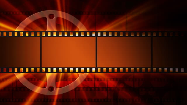 Films and film reel with shine. Full HD video