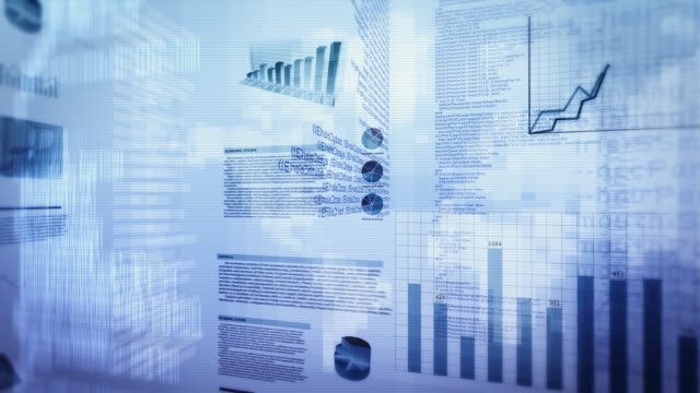Financial data and charts. Cyan. Loopable. video