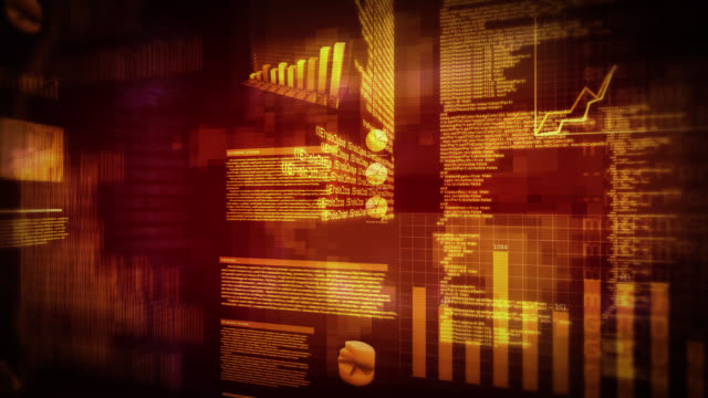 Financial data and charts. Red. Loopable. video