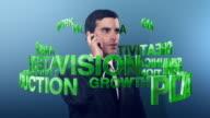 3D financial keywords spinning around a businessman video