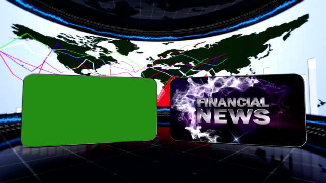 Financial News Text and Green Screen Monitor video