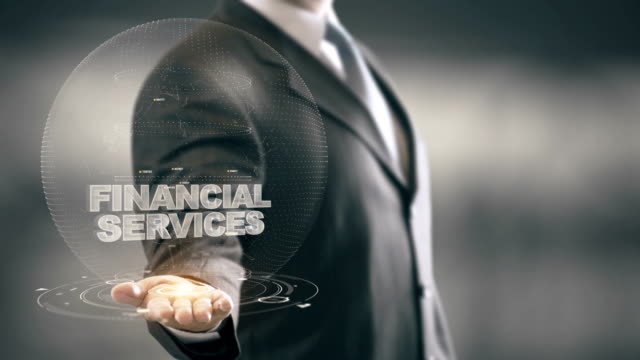 Financial Services with bulb hologram businessman concept video