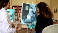 Fine art students painting video
