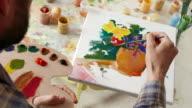 4К Fine artist painting flowers in vase video