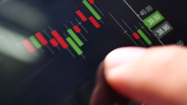 Finger indexing Stock Market data graph on Smart phone. video