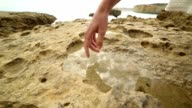 Finger touches surface of rock pool video