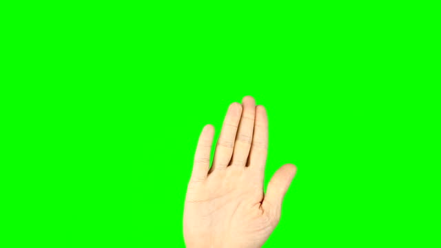 3 4 5 fingers gestures. Male hand on green screen. Three four five fingers gestures on virtual screen. Modern technology simulator. Have more options. Footage contains solid green instead alpha. video