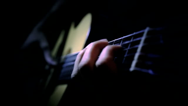 Fingers on the chords of a guitar video