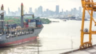 Finished goods are loaded containership out of the Shipping port video