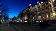 Finland Helsinki night street time lapse video