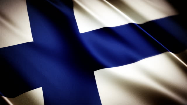 Finland realistic national flag seamless looped waving animation video