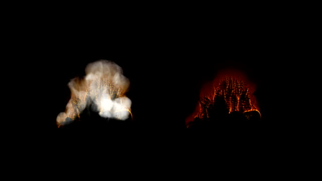Fire and smoke explosion elements with alpha mattes video