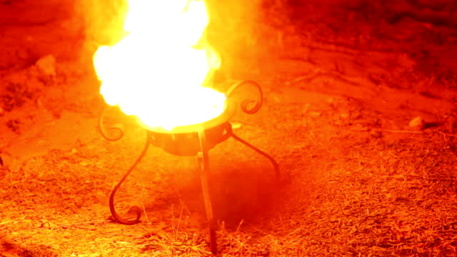 fire bowl with stack of wood video