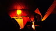 Fire burning energy of hot air balloon video