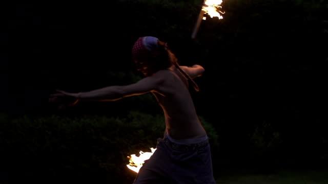 SLOW MOTION: Fire dancer video