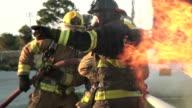 Fire fighting car fire video