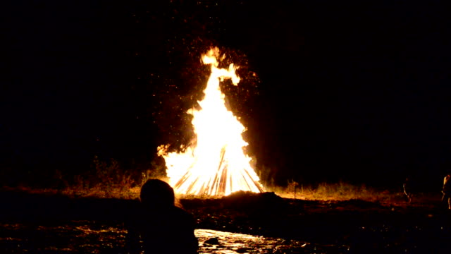 Fire for Ivan Kupala's holiday, July, summer, Ukraine. video