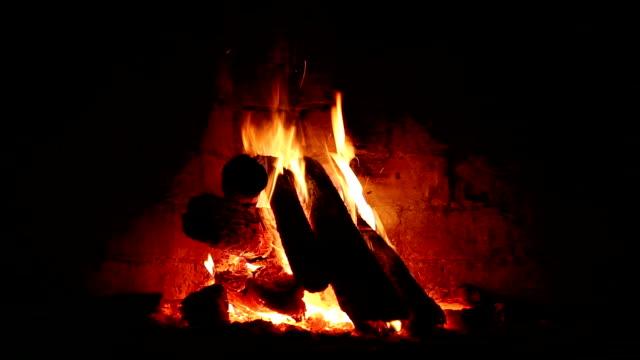 HD: Fire in fireplace video