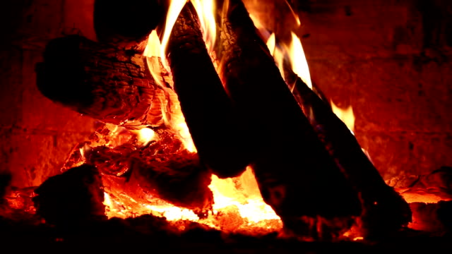 HD: Fire in fireplace video
