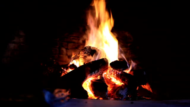 Fire in fireplace video