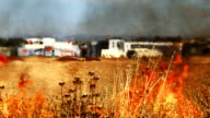 Fire in the dry field near resedential area video
