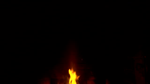 Fire in the fireplace Slow Motion video