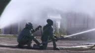 Fire Man in Gas Mask Flowing Water video