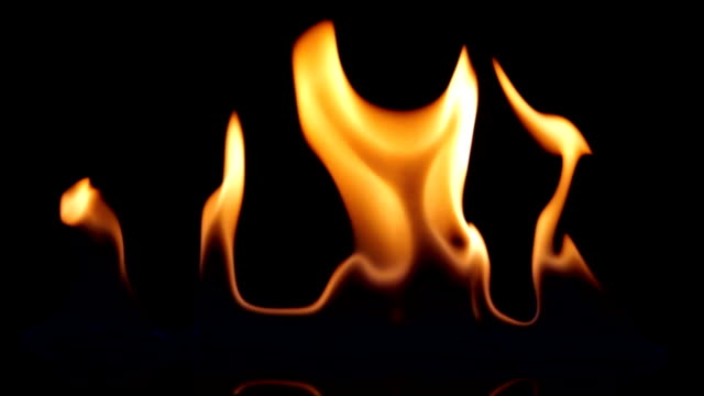 Fire on black background video