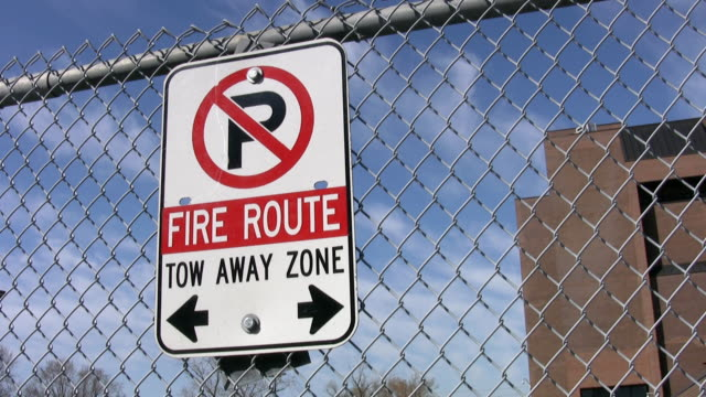 Fire route sign. No parking. video