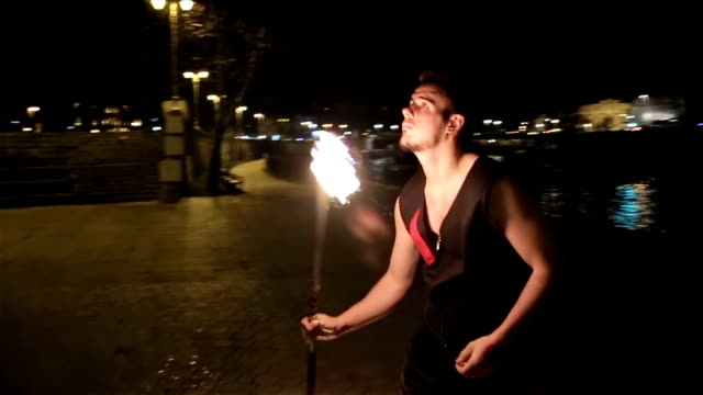 fire show at night video