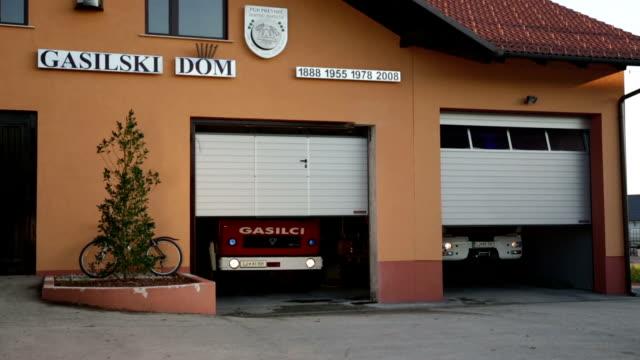 Fire station opens the doors for firetrucks video