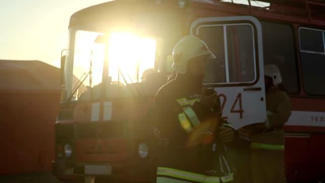 Firefighter checks radio video