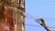 Firefighter flow water. video