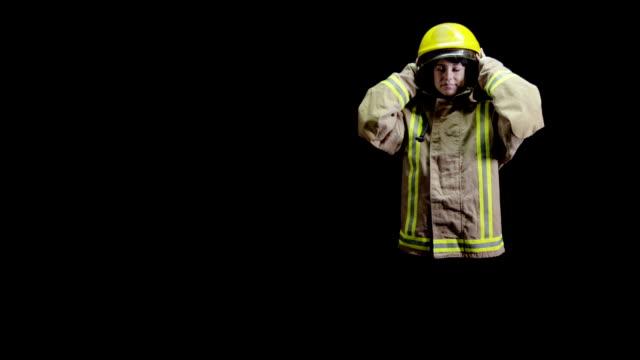 Fireman on black background video