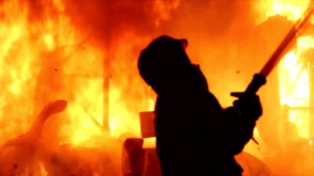 Firemen fighting fire video