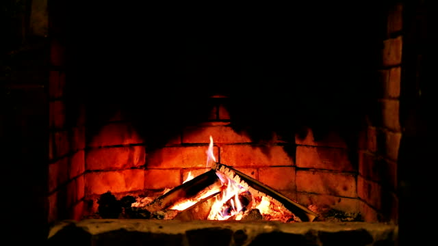Fireplace. Burning flame. video