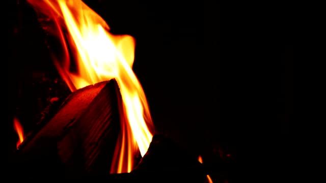 Fireplace close up video