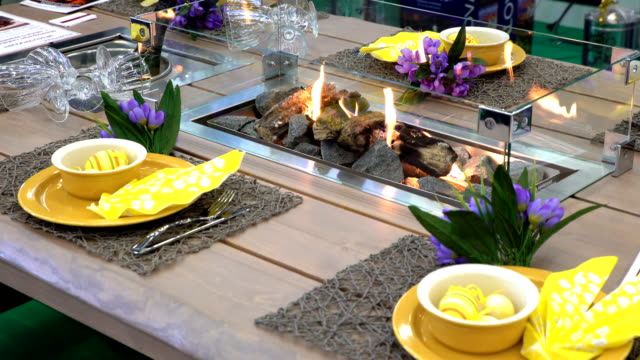 Fireplace in the middle of the table with a festive table setting video