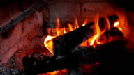 Fireplace with fire and burning wood video