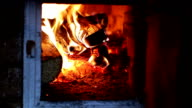 Fireplace with fire. video
