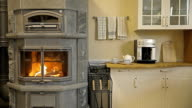 Fireplace-stove in the kitchen video