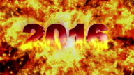 2016 Fires Text and Flame Explosion, with Alpha Channel, Loop, 4k video