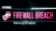 Firewall breach, found vulnerabilities screen text, system message, notification video