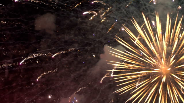 Firework - concept of completion of any holiday: Chinese new year, New year, Christmas, wedding, birthday, Valentines day, Thanksgiving, independence day and Brazilian carnival video