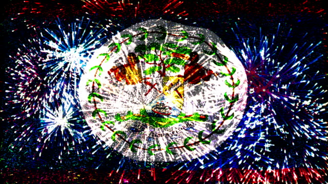 firework display flag of belize video