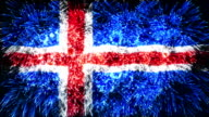 firework display flag of Iceland video