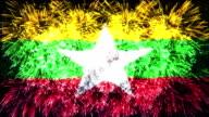 firework display flag of Myanmar Burma video