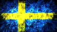 firework display flag of Sweden video