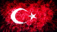 firework display flag of Turkey video