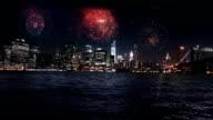 Firework display over Manhattan New York video